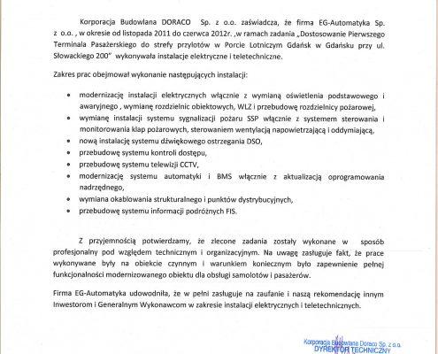 Korporacja Budowlana Doraco dla Portu Lotniczego w Gdańsku