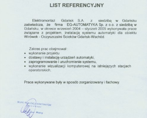 Elektromontaż Gdańsk S.A. dla obiektu Stacji Podnoszenia Ciśnień Gdańsk Kartuska