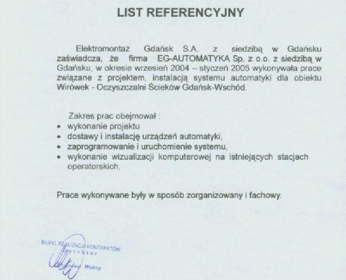 Elektromontaż Gdańsk S.A. dla obiektu Stacji Podnoszenia Ciśnień Gdańsk Wileńska