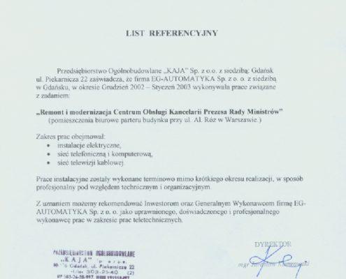 PO Kaja dla obiektu Rządu w Warszawie